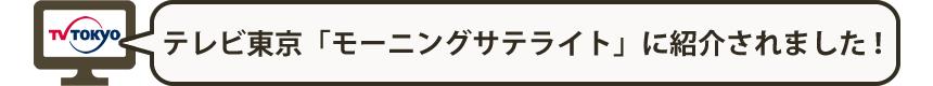 テレビ東京「モーニングサテライト」に紹介されました!